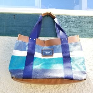 Tommy Hilfiger blue white striped canvas tote